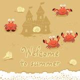 Gullig illustration för vektor av krabbor och bokstäver på Royaltyfri Foto