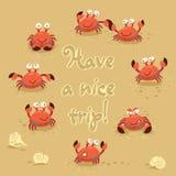 Gullig illustration för vektor av krabbor och bokstäver på Royaltyfria Bilder