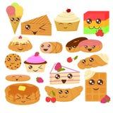 Gullig illustration för vektor för bagerigods i plan tecknad filmstil vektor illustrationer