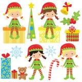 Gullig illustration för vektor för julälvaflicka Fotografering för Bildbyråer