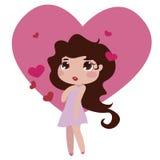 Gullig illustration för vektor för liten flickavalentintecken Royaltyfria Bilder