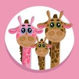 Gullig illustration för vektor för symbol för girafffamiljtecknad film Royaltyfri Bild