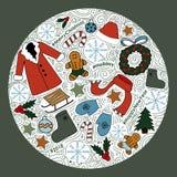 Gullig illustration med beståndsdelar för nytt år royaltyfri illustrationer