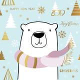 Gullig isbjörn med inskriften för glad jul Kortmall för nytt år stock illustrationer