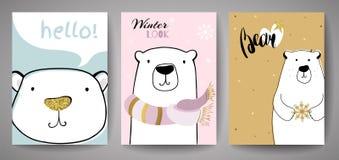 Gullig isbjörn med inskriften för glad jul Kortmall för nytt år royaltyfri illustrationer