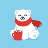 Gullig isbjörn med koppen för varm choklad royaltyfri illustrationer