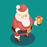 Gullig isometrisk 3d jul Santa Claus Royaltyfria Bilder