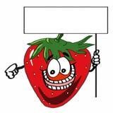 Gullig jordgubbe- och för banerillustrationtecknad film teckningsfärgläggning Arkivbild