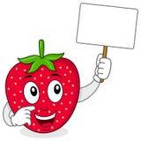 Gullig jordgubbe som rymmer ett tomt baner Royaltyfri Foto
