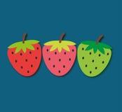 Gullig jordgubbe tre vektor illustrationer