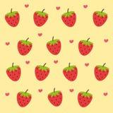 Gullig jordgubbetapet vektor illustrationer