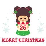 Gullig julälva för tecknad film med kalendervektorn Royaltyfria Foton