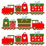 Gullig jul ångar drevet med gåvaaskar, illus royaltyfri illustrationer