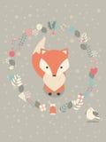 Gullig jul behandla som ett barn räven med blom- garnering royaltyfri illustrationer