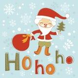 Gullig julkort för Hohoho jultomten Fotografering för Bildbyråer