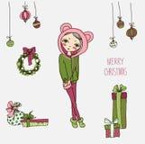 Gullig julkort i vektor stock illustrationer