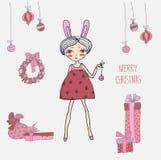 Gullig julkort i vektor royaltyfri illustrationer