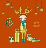Gullig julkort i vektor vektor illustrationer