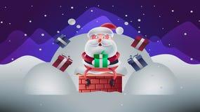 Gullig julkort med den Santa Vector illustrationen stock illustrationer
