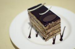 Gullig kaka i den vita maträtten Royaltyfri Bild