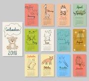 Gullig kalender 2018 Arkivbilder