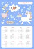 Gullig kalender för 2019 år på ryssspråk Veckastarter på Måndag Vektormall med den magiska enhörningen vektor illustrationer