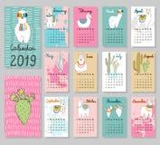 Gullig kalender 2019 för vektor royaltyfri illustrationer