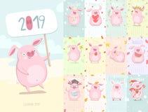 Gullig kalender 2019 med svinet royaltyfri illustrationer