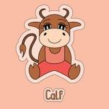 Gullig kalv, tjur, ko, buffel, oxe, tecknad filmklistermärke, roligt djur royaltyfri illustrationer