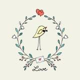 Gullig kanariefågel-fink med en blommakrans Royaltyfri Foto