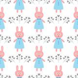 Gullig kanin i en klänning Blommor i form av hjärtor seamless tecknad filmmodell royaltyfri illustrationer