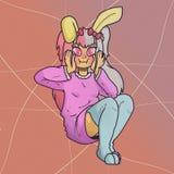 gullig kanin Kanindräkt Lurviga långa öron royaltyfri illustrationer