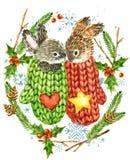 gullig kanin klaus santa för frost för påsekortjul sky skogdjur Illustration för vattenfärgvinterskog Julkransram vattenfärgvinte Royaltyfria Foton