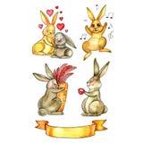 gullig kanin kanin mörk paper vattenfärgyellow för forntida bakgrund red steg Arkivfoton