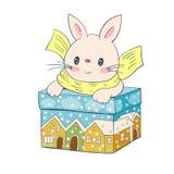 Gullig kanin med julgåvan Fotografering för Bildbyråer
