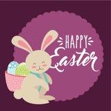Gullig kanin med korgen på hans baksida med den lyckliga easter för ägg etiketten Royaltyfria Bilder