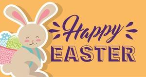 Gullig kanin med korgen på hans baksida med lyckliga det horisontaleaster för ägg banret Royaltyfria Foton