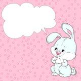 Gullig kanin på en rosa bakgrund Hälsningkort med stället för lyckönskan vektor Arkivbilder