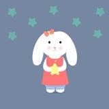 Gullig kanin som rymmer en stjärna Royaltyfria Foton