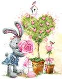 Gullig kaninkanin tillgänglig vektor för valentiner för kortdagmapp Royaltyfri Bild