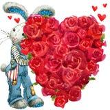 Gullig kaninkanin tillgänglig vektor för valentiner för kortdagmapp Royaltyfri Fotografi
