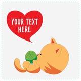 Gullig katt för tecknad film Fotografering för Bildbyråer