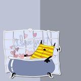 Gullig katt i badet med skum i formen av en hjärta royaltyfri illustrationer