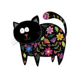 Gullig katt i dekorativ stil vektor illustrationer