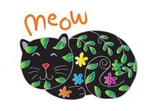 Gullig katt i dekorativ stil stock illustrationer