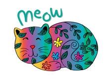 Gullig katt i dekorativ stil royaltyfri illustrationer