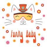Gullig katt i skraj hatt och exponeringsglas royaltyfri illustrationer