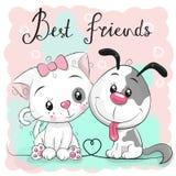Gullig katt och hund på en rosa bakgrund stock illustrationer