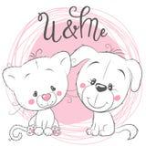Gullig katt och hund på en rosa bakgrund vektor illustrationer