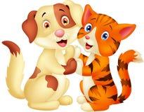 Gullig katt- och hundtecknad film Royaltyfria Bilder